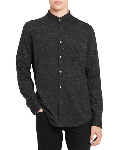 Calvin Klein Slim-Fit Knit Cotton Sportshirt-BLACK-Medium