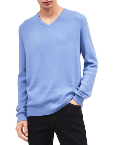 Calvin Klein Solid V-Neck Sweater-BLUE-Medium