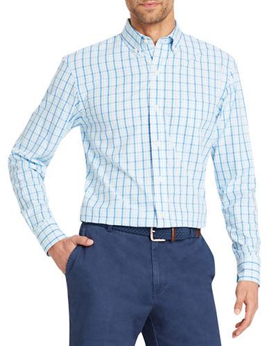 Izod Mechanical Stretch Cotton Poplin Check Sport Shirt-BLUE-Large
