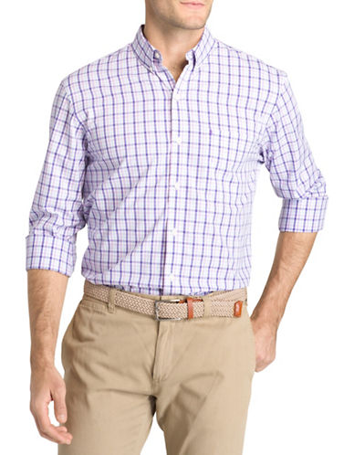 Izod Mechanical Stretch Cotton Poplin Check Sport Shirt-PURPLE-Small