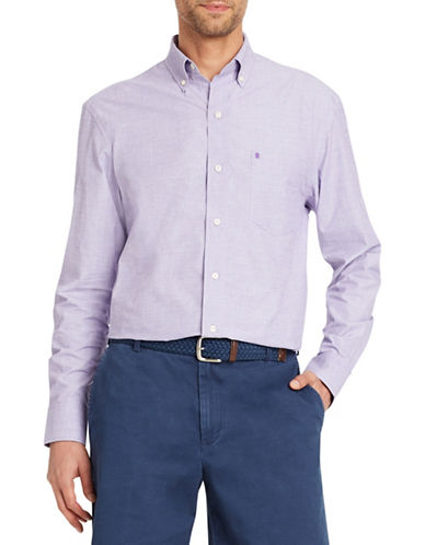 Izod Mechanical Stretch Poplin Cotton Sport Shirt-PURPLE-Medium