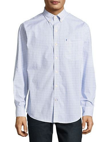 Izod Checkered Cotton Sportshirt-BLUE-Large