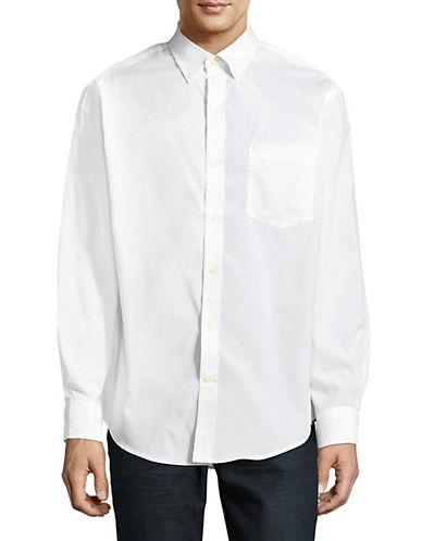 Izod Classic Cotton Sportshirt-WHITE-Large