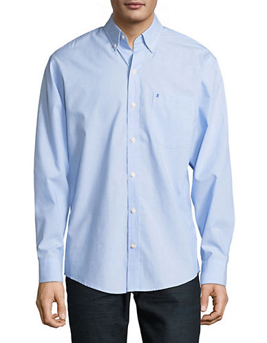 Izod Classic Cotton Sportshirt-BLUE-Medium