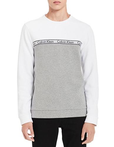 Calvin Klein Two-Tone Logo Sweatshirt-WHITE-Medium