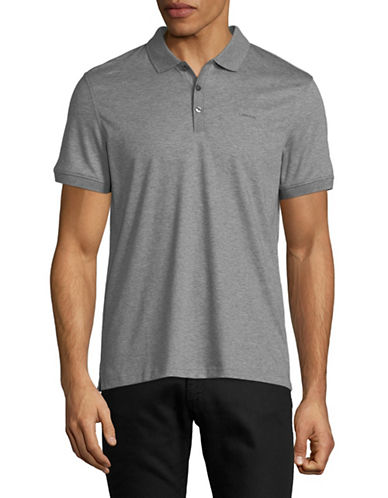 Calvin Klein Solid Cotton Polo Shirt-DARK GREY-Small