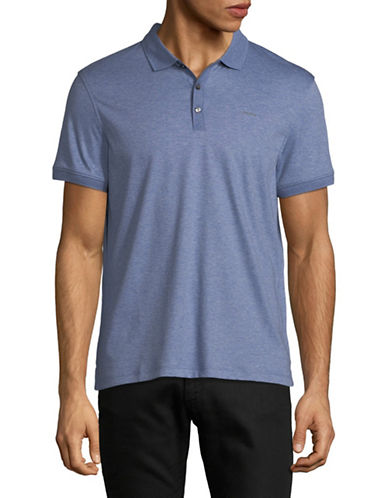 Calvin Klein Solid Cotton Polo Shirt-LIGHT BLUE-Medium