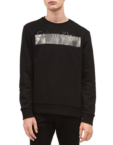 Calvin Klein ID Bar Logo Sweatshirt-BLACK-Medium