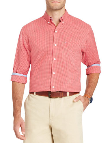 Izod Long-Sleeve Gingham Cotton Sport Shirt-RED-X-Large