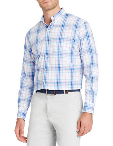 Izod Long-Sleeve Plaid Cotton Sport Shirt-BRIGHT WHITE-XX-Large