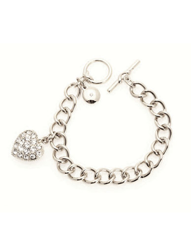 Jones New York Boxed Bracelet With Pave Heart Charm-SILVER-One Size
