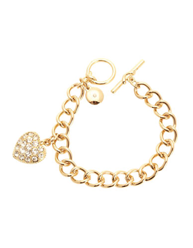 Jones New York Boxed Bracelet With Pave Heart Charm-GOLD-One Size