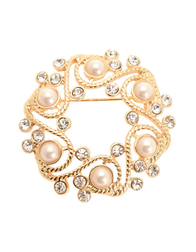 Jones New York Boxed Multi Stone Wreath Pin-GOLD/PEARL-One Size