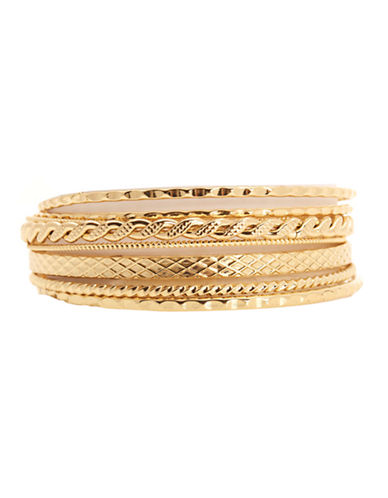 Jones New York Boxed Textured Bangles-GOLD-One Size