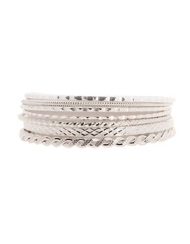 Jones New York Boxed Textured Bangles-SILVER-One Size