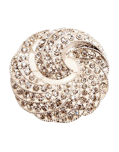 Jones New York Boxed Silver Crystal Swirl Pin-SILVER/CRYSTAL-One Size