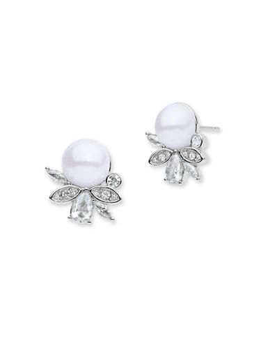 Jenny Packham Faux Pearl Crystal Cluster Earrings-WHITE-One Size