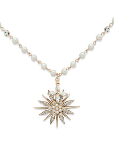 Jenny Packham Faux Pearl and Star Pendant Necklace-WHITE-One Size