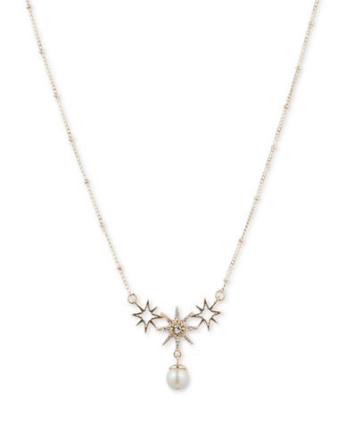 Jenny Packham Faux Pearl and Star Frontal Necklace-WHITE-One Size