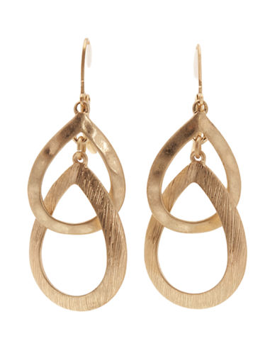 Jones New York Double Teardrop Earring-GOLD-One Size