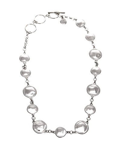Jones New York Disk Collar Neck-SILVER TONE-One Size
