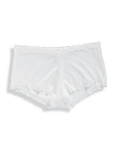 Maidenform Lace Trim Boy Shorts-WHITE-6