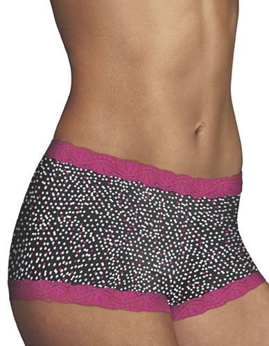 Maidenform Lace Trim Boy Shorts-BROWN-6