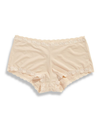 Maidenform Lace Trim Boy Shorts-LATTE-7