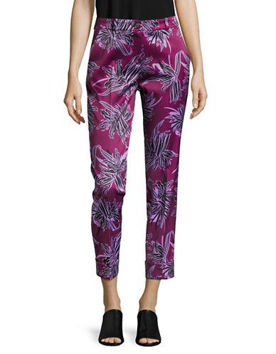 Hugo Floral Sateen Cuffed Pants-GREY-EUR 36/US 4