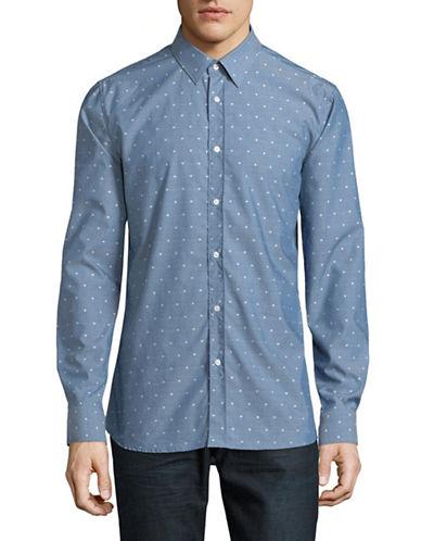 Hugo Elisha Cotton Sport Shirt-BLUE-Medium