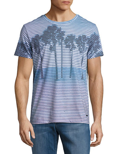 Boss Orange Telling Striped Palm Tree T-Shirt-BLUE-Medium 88954293_BLUE_Medium