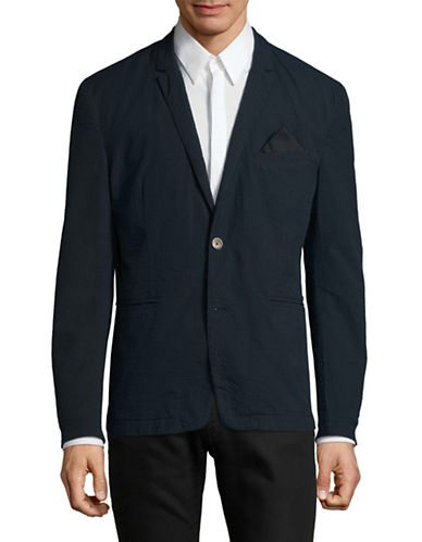 Boss Orange Textured Button-Front Jacket-BLUE-44