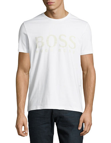Boss Green Logo Front T-Shirt-WHITE-Large