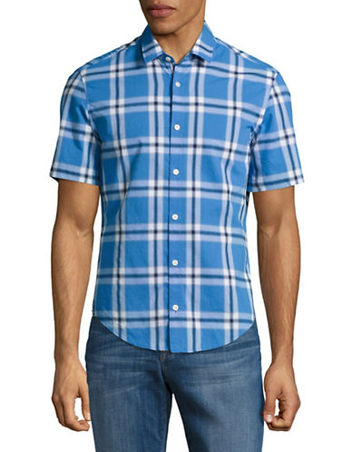 Boss Green C-Bopazy Regular Fit Plaid Shirt-MEDIUM BLUE-Small