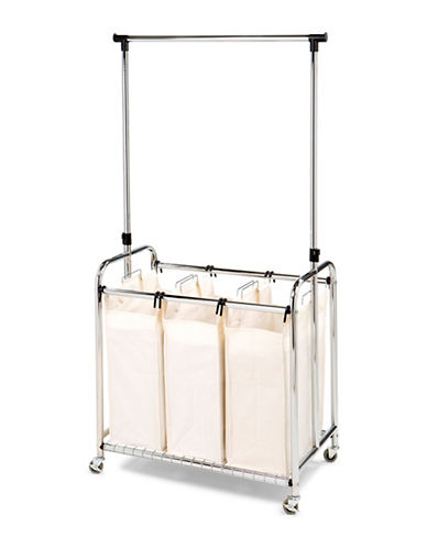 Seville Classics Three-Bag Laundry Sorter with Hanging Bar-GREY-One Size