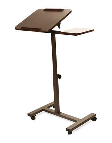Seville Classics Mobile Laptop Desk with Side Table-BROWN-One Size