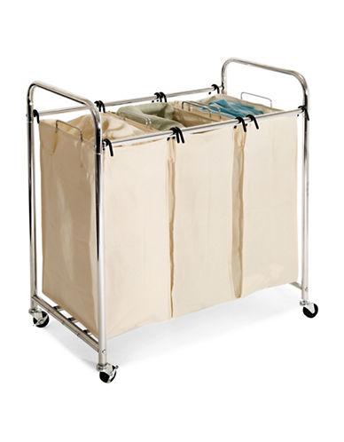 Seville Classics Three-Bag Laundry Sorter-BEIGE-One Size