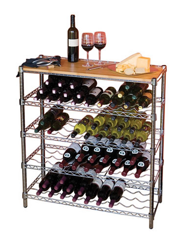 Seville Classics Five-Shelf Wine Rack with Bamboo Top-GREY-One Size