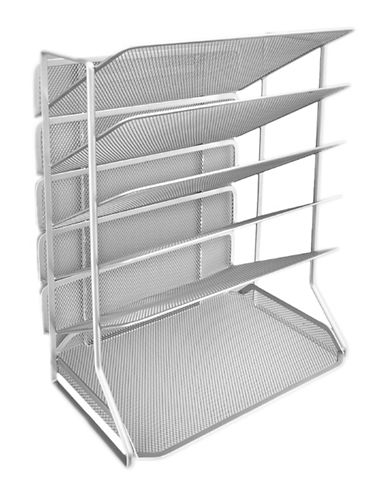 Seville Classics Six-Tray Mesh Office Desk Wall Organizer-GREY-One Size