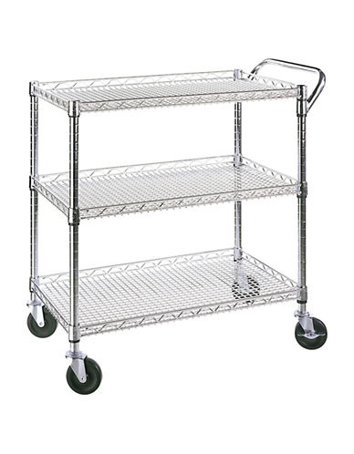 Seville Classics Three-Shelf Zinc Commercial Cart-GREY-One Size