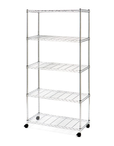 Seville Classics Five-Shelf Shelving System-GREY-One Size