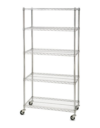 Seville Classics Five-Shelf Shelving System with Wheels-GREY-One Size
