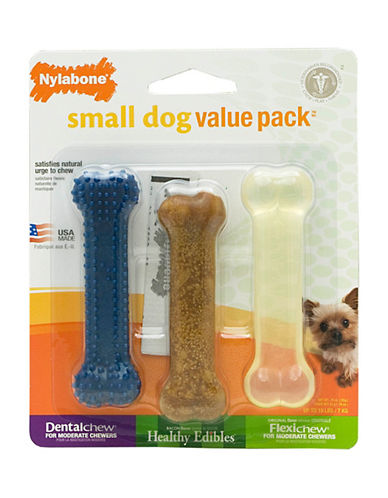 Nylabone Dental Bacon Flexi Dog Chew Value Pack-NO COLOUR-Small