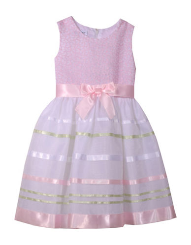Iris & Ivy Girls Embroidered Ribbon Dress-PINK-3T
