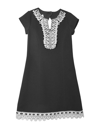 Iris & Ivy Girls Textured Knit Shift Dress-BLACK-14