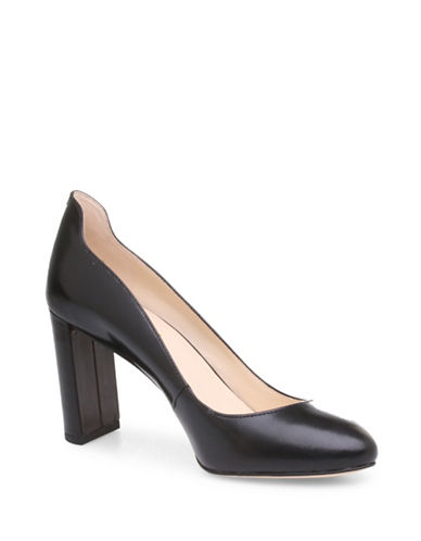 Nine West Almond Toe Leather Pumps-BLACK-9