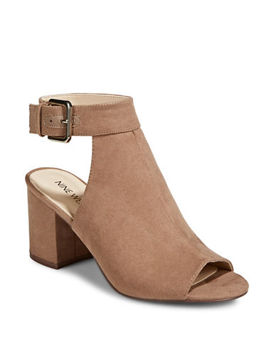 Nine West Jazzy Open Toe Booties-NATURAL-6.5