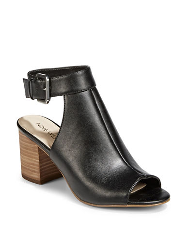 Nine West Jazzy Open Toe Booties-BLACK-7.5