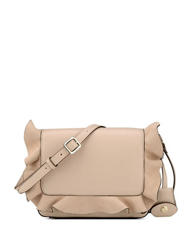 Nine West Ruffled Crossbody Bag-BEIGE-One Size