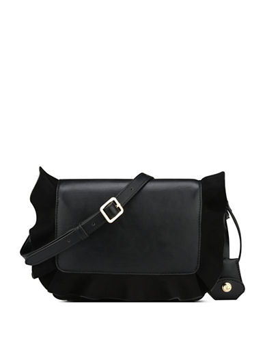 Nine West Ruffled Crossbody Bag-BLACK-One Size
